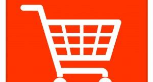 Red shopping basket sign NEU