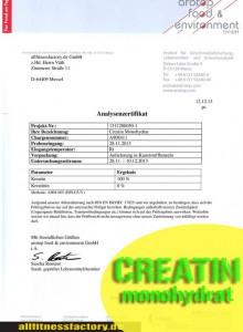Creatin Analysenzertifikatzeigt das keine Verunreinigungen oder Nebenprodukte vorhanden sind