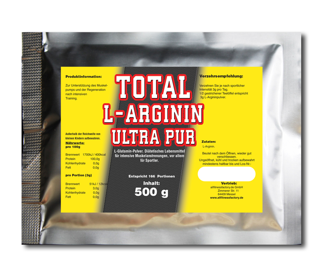 500g Total L-Arginin Ultra PUR Qualitäts Aminosäure Pulver 100% PUR