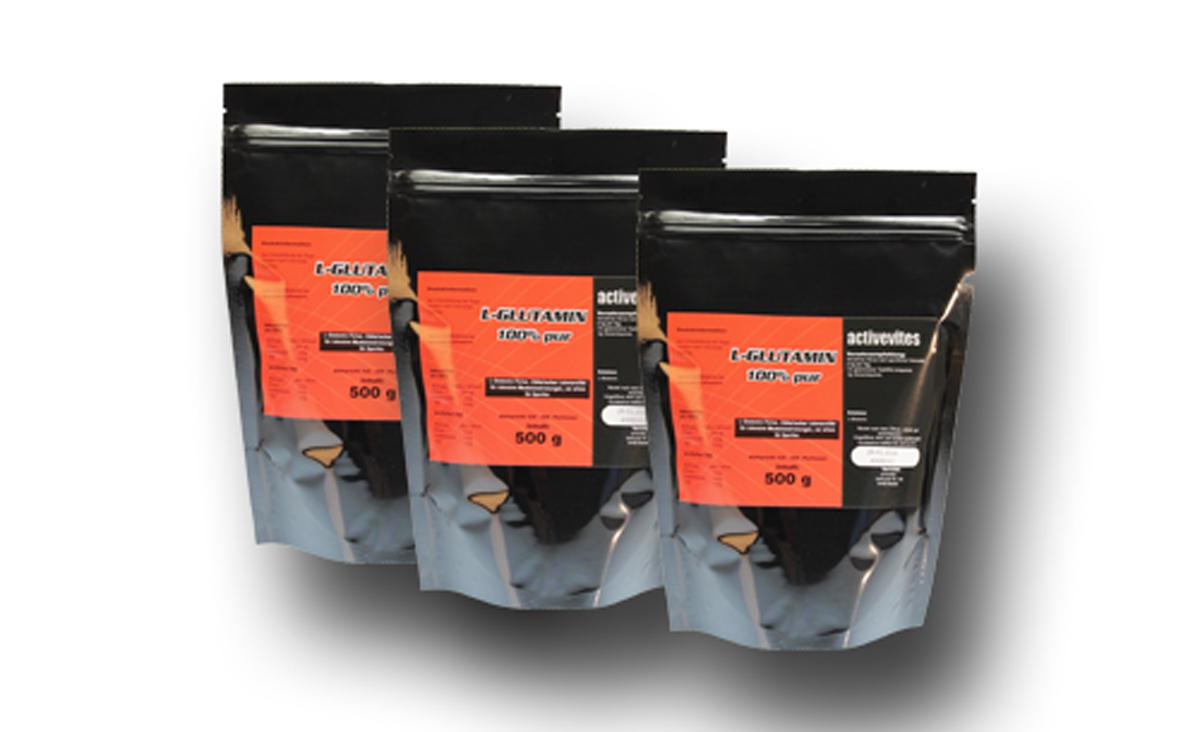 3 mal 500g L-Glutamin Qualitäts Aminosäure Pulver 100%PUR WOW