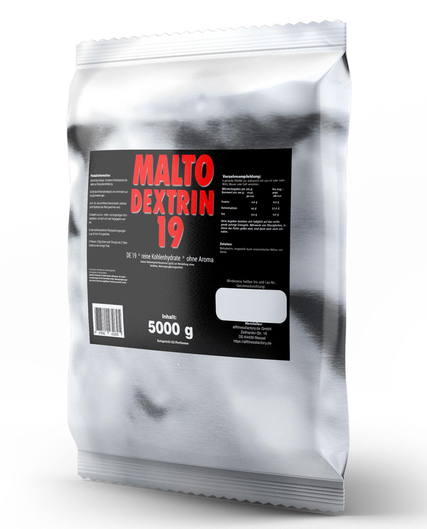 Maltodextrin 5Kg Kohlenhydrate Malto Dextrin ALU Beutel Rein Gainer Pulver