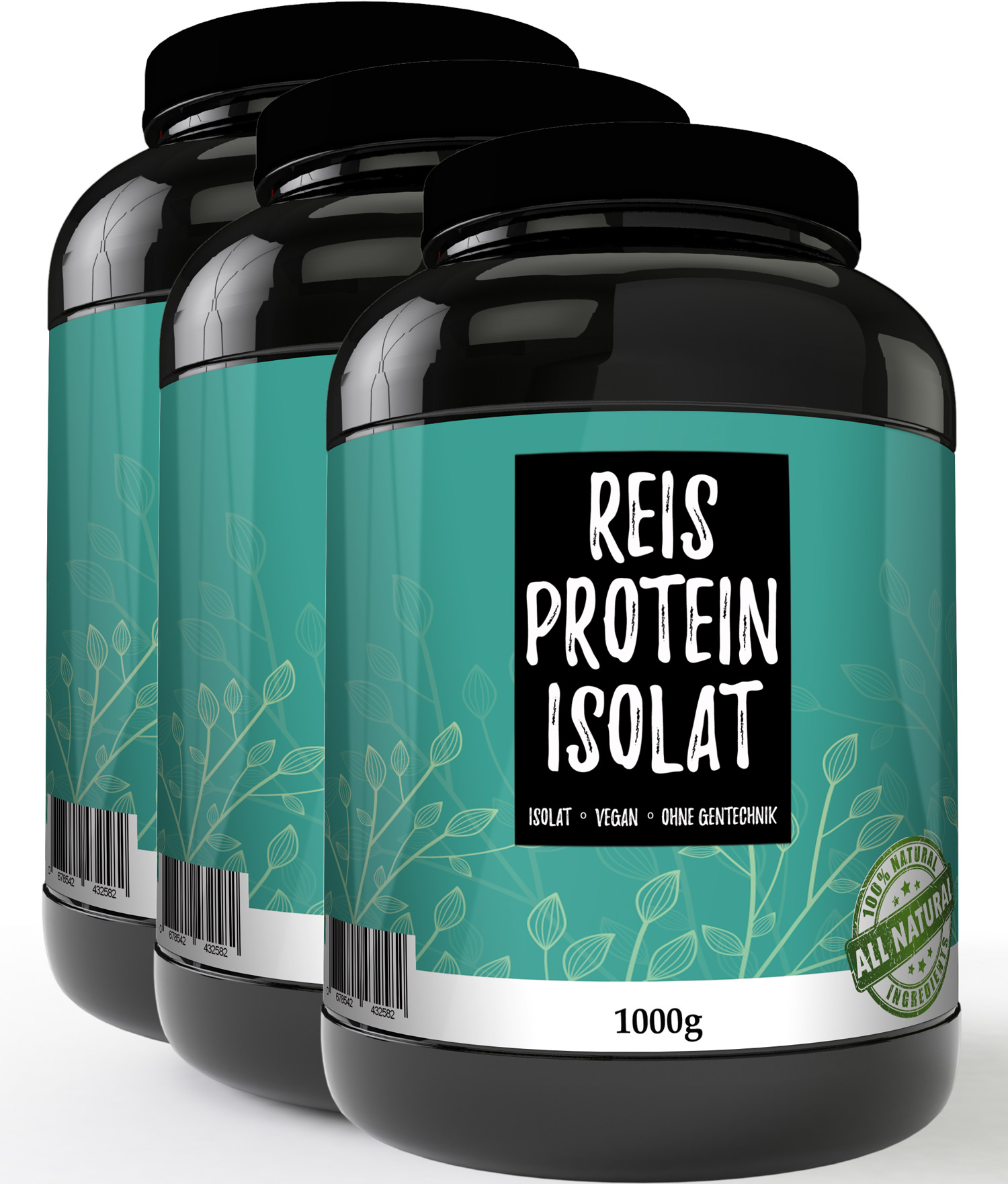 Reisprotein 90% 3 mal 1000g Protein Pulver Glutenfrei Reis Vegan Rice Eiweiss
