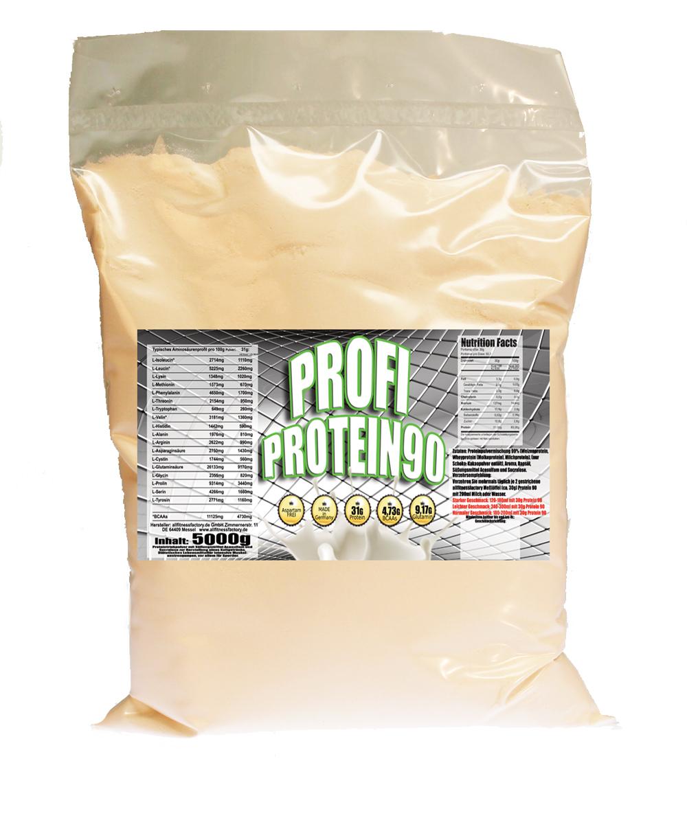 PROFI Protein 90 5000g, PE-Beutel, 31g Protein pro Portion,  Vanille