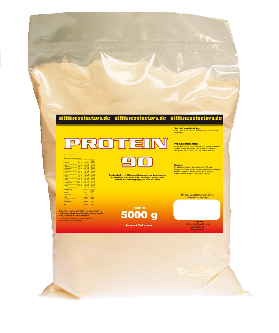 Protein 90 5kg Eiweiß Muskelaufbau mit mehr Whey Aspartamfrei Vanille
