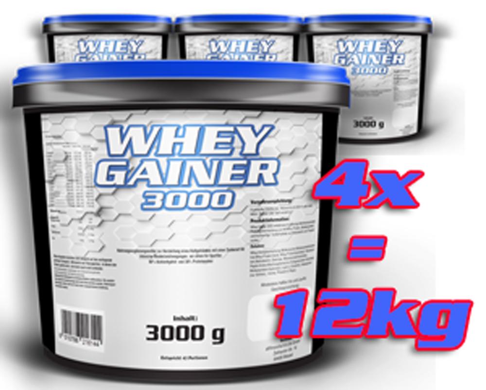 Whey Gainer 4 mal 3kg = 12kg  VanillaCookies versandfrei!