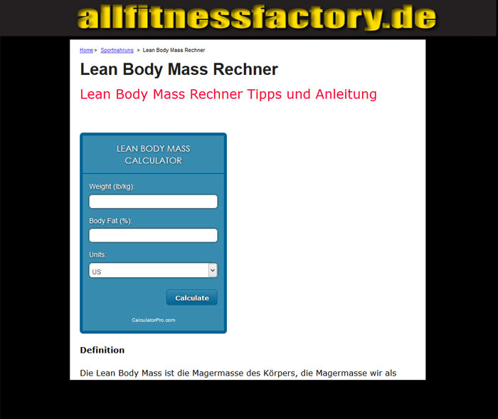 lean body mass rechner