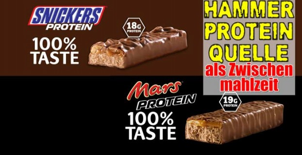 Snickers Protein Riegel vs Mars Protein Riegel